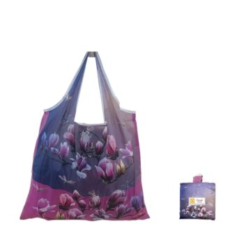 Eco Foldable Shopping Bag - Magnolia and Dragonflies by Neis Wai