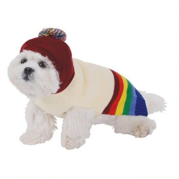 Dog Jumper Rainbow with Hood, 35cm ,plastic hanger and hang tag