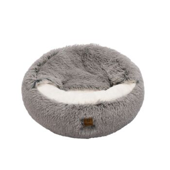 Charlie's Pet Cushioned Snookie Hooded Pet Nest Bed Faux Fur
