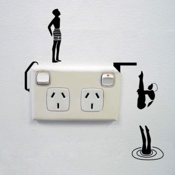 Divers Wall Sticker for Sockets