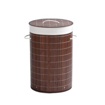 Sherwood Home Round Folding Bamboo Laundry Basket Hamper with Lid Natural Bamboo D38xH60cm