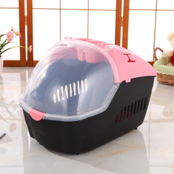 Small Portable Travel Dog Cat Crate Pet Carrier Cage Comfort With Mat-Pink