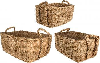BRIBIE S3 SEAGRASS RECTANGLE BASKET WITH HANDLE SML