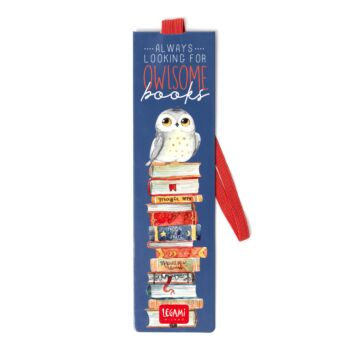 Bookmark With Elastic Band - Owl Books