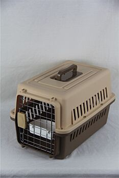 Small Dog Cat Rabbit Crate Pet Carrier Airline Cage With Bowl and Tray-Brown