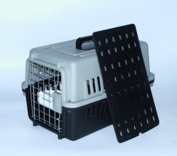Small Dog Cat Crate Pet Airline Carrier Cage With Bowl and Tray-Black