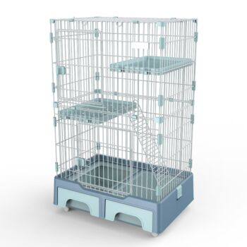 128 cm Blue Pet 3 Level Cat Cage House With Litter Tray And Storage Box
