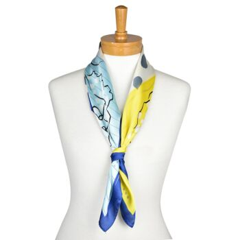 Blue: Two Flowers Scarf