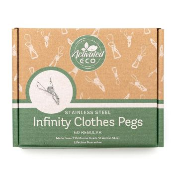 Stainless Steel Infinity Clothes Pegs 60 Pack