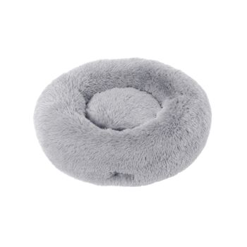 Charlie's Pet Faux Fur Fuffy Calming Pet Bed Nest - Silver