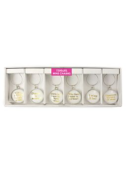 Wine Charm Set 6 Wine Talk White Make a great unique gift of table decoration