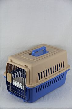 Small Dog Cat Crate Pet Carrier Airline Cage With Bowl and Tray-Blue