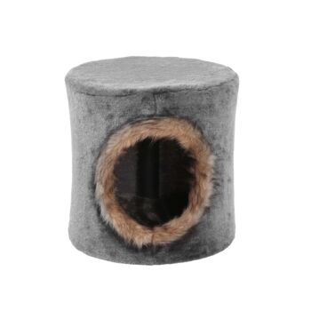 Charlie's Pet Cat Tree House with Faux Fur Hole - Grey/Brown 31X31X31.5cm