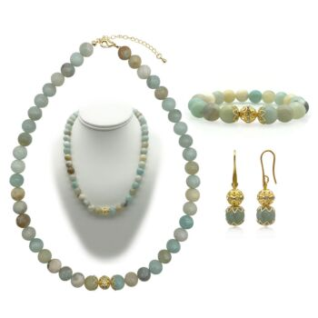 10mm Natural Amazonite Persian Love Gold Plated Rhinestone Necklace, Bracelet & Earring Set