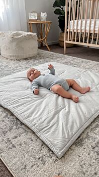 Organic Cotton Play Blanket / Cot Quilt - Dove Grey