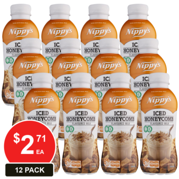 12 Pack, Nippy's 500ml Bottles Iced Honeycomb Flavoured Milk