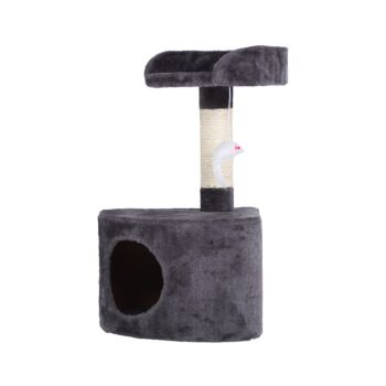 Charlie's Pet Cat Tree with Round House - Charcoal - 33x33x58cm