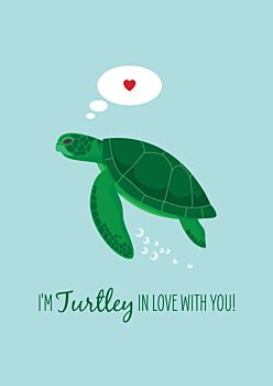 Lovers Card - Green Turtle