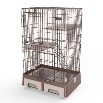 128 cm Brown Pet 3 Level Cat Cage House With Litter Tray And Storage Box