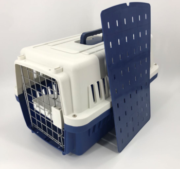 Medium Dog Cat Crate Pet Carrier Airline Cage With Bowl & Tray-Navy