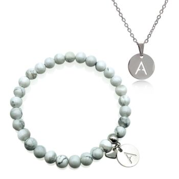 Personalized Stainless Steel Initial Letter Charm Pendant Necklace & Howlite Gemstone Bracelet Set