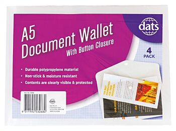 Document Wallet with Press Stud A5 4 Pack