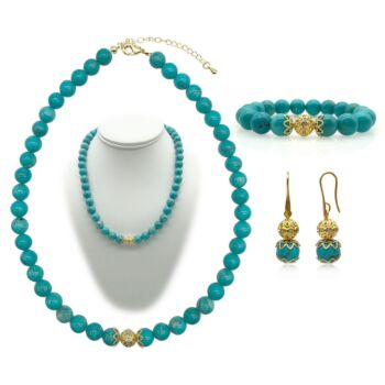 10mm Turquoise Persian Love Gold Plated Rhinestone Necklace, Bracelet & Earring Set