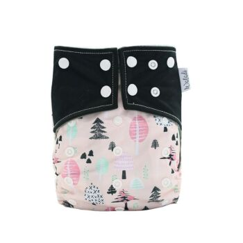 Pink & Black Forest Trees Design Bamboo Charcoal Cloth Nappy