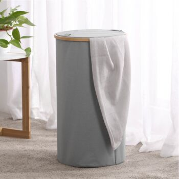 Sherwood Home Tall Round Linen and Bamboo Laundry Hamper with Cover Dark Grey 38x38x67cm