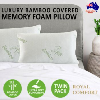 Royal Comfort Luxury Bamboo Covered Memory Foam Pillow Twin Pack Hypoallergenic