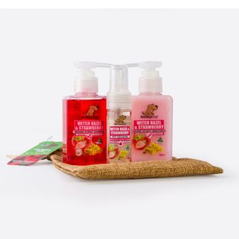 Smiley Dog Travel / Gift Pack in Hessian Bag - Organic Witch Hazel & Strawberry Shampoo 100ml , Conditioner 100ml  & Cologne 30ml