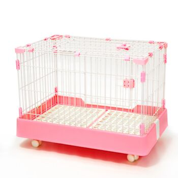 Large Pink Pet Dog Cage Cat Rabbit  Crate Kennel With Potty Pad And Wheel