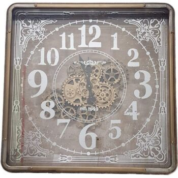 Square 80Cm Roma Mirrored Moving Cogs Wall Clock - Gold W/ Silver