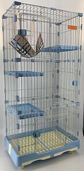 146 cm Blue Pet 4 Level Cat Cage House With Litter Tray & Wheel 72x47x146 cm