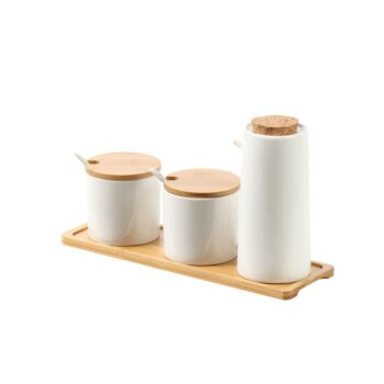 Sherwood Home Ceramic Bamboo Spice Jar and Oil Pourer - Bamboo and White - 30x9.5x17.5cm