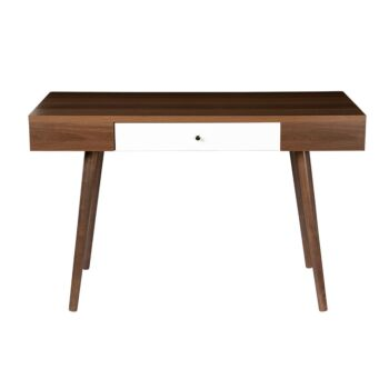 Study Desk Computer Table With Drawer Computer Workstation Brown Natural Walnut & White Laminate 120* 59 * 75
