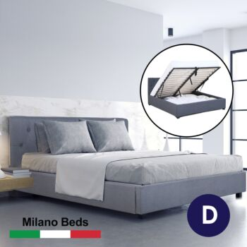 Milano Capri Luxury Gas Lift Bed Frame Base And Headboard With Storage All Sizes