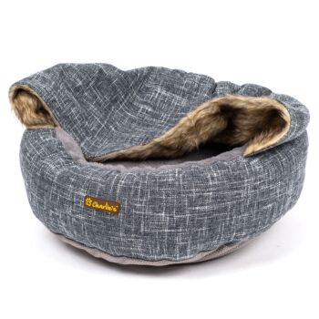Charlie's Pet Round Bed with Faux Fur Cover - Dark Grey