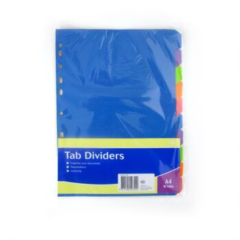 PAPER DIVIDERS A4 ASST COL 10 PACK 160GSM