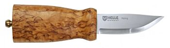 Helle Nying, 70mm blade, curly birch handle. Leather sheath.