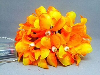 5 Sets of 20 LED Orange Frangipani Flower Battery String Lights Christmas Gift Home Wedding Party Decoration Outdoor Table Garland Wreath