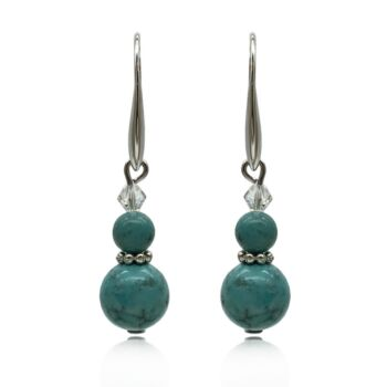 Natural Round Turquoise Adorned with Swarovski® Crystal Beads Real Platinum Plated Earrings