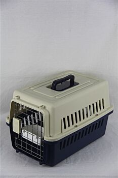 Small Dog Cat Rabbit Crate Pet Carrier Airline Cage With Bowl and Tray-Dark Blue