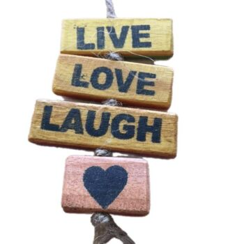 Ethical Wholesale Australia Upcycled Wood Sign - Live, Love, Laugh