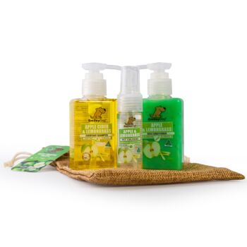 Smiley Dog Travel / Gift Pack in Hessian Bag - Natural Apple Cider with Lemongrass Shampoo 100ml , Conditioner 100ml  & Cologne 30ml