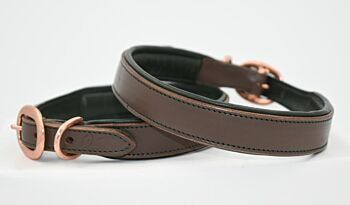 Taupe and Olive Leather Collar