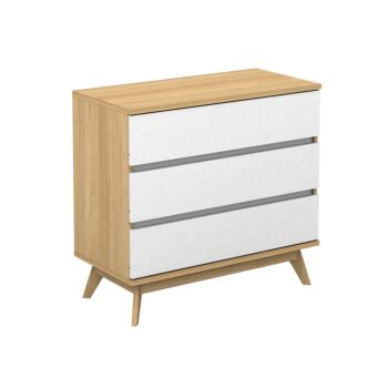 Cosmoliving 3 Drawers Chest of Drawers Tallboy (Oak & White)