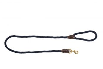 MOG AND BONE LEATHER BRASS ROPE LEAD NAVY 1.2M