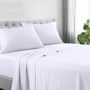 Single Bed 1200TC Cotton Rich Bed Sheet Sets in White