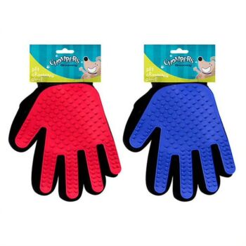 Pet Grooming Glove Brush 2 x Assorted Colours Blue / Red 240x130mm